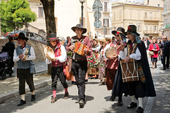 Chieti, Italy - May 08, 2016: folk parade in the streets of Chieti Abruzzo Chieti Dress Du Bott Folk Folklore Organetto Parade People Performer  Player Putipu Street Village