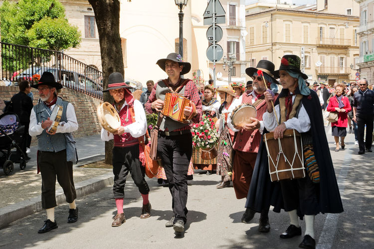 Chieti, Italy - May 08, 2016: folk parade in the streets of Chieti Abruzzo Chieti Dress Du Bott Folk Folklore Organetto Parade People Performer  Player Putipu Street Village