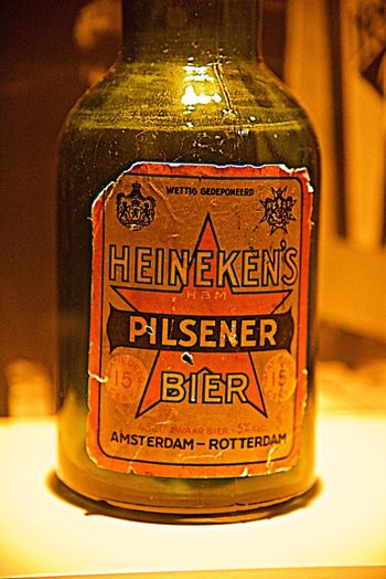 Close-up Focus On Foreground Retro Heineken Beer Brewery Indoors  Vintage Brewerylife Bottle Amsterdam Still Life Indoors  Silence No People