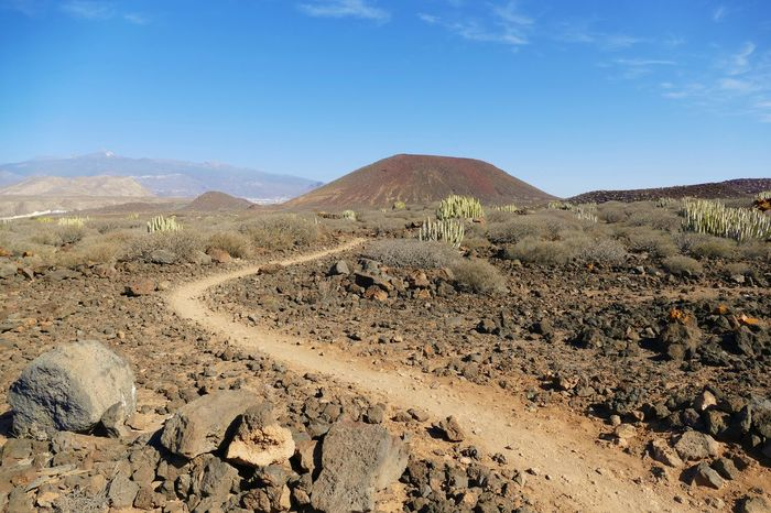 Footpath Footpath As Landscape Arid Climate Beauty In Nature Blue Bluesky Day Desert Landscape Mountain Mountain Range Nature No People Outdoors Rock - Object Scenics Sky Tranquil Scene Tranquility Tree