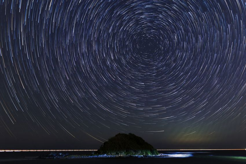 Star trails of Northern sky, Fukuoka city, Japan Astronomy Astrophotography Beauty In Nature Circle Cosmos Majestic Nature Night Polar  Shikanoshima Sky Star Star Trail Tranquil Scene Universe