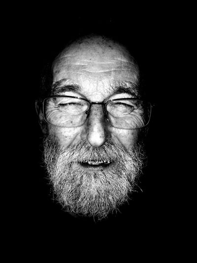 Portrait Looking At Camera Black Background Studio Shot Human Face Front View One Person Adults Only Human Body Part Adult People Oldman Oldmanportrait Black And White Collection  Black And White Photography Black And White Blackandwhite Photography Uniqueness