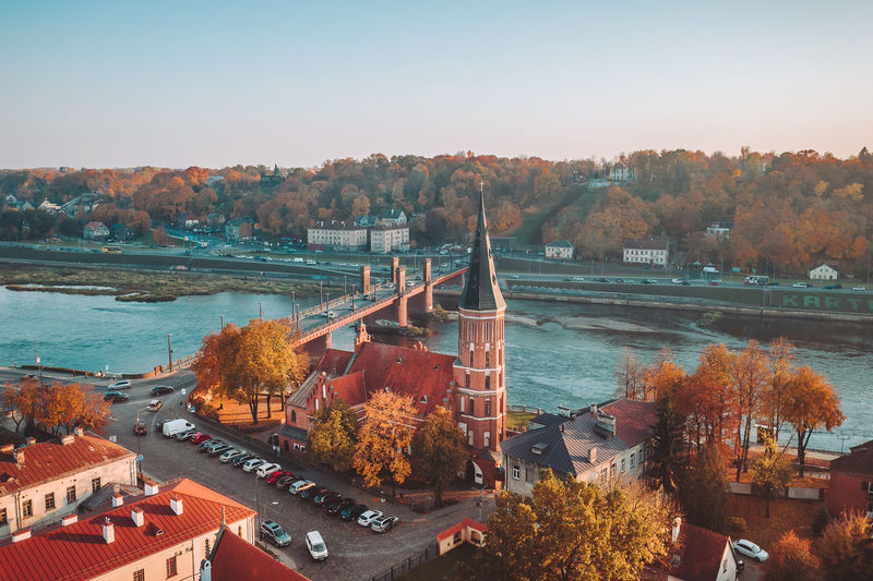 Kaunas old town Drone  Aerial View Aerial Drone Photography DJI X Eyeem Mavic 2 Mavic 2 Pro Europe Lietuva Droneshot Birds Eye View Kaunas Old Town Church Bridge Tree Architecture Water Built Structure Plant High Angle View Building Exterior Nature Sky River Transportation No People Day Autumn City Outdoors Clear Sky Change
