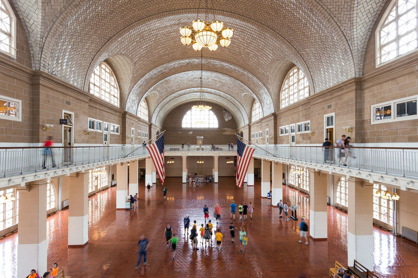 Ellis Island  Historical Building Immigration Tourist Attraction  Adult Adults Only Arch Architecture Built Structure Day Great Hall Hall Immigrant Indoors  Large Group Of People National Park Service People Real People Reinassance Tourism Travel