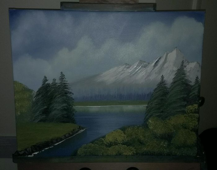 Mountains Clouds And Sky Lake Original Oil Paintings