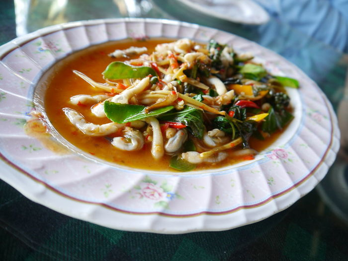 Food Freshness High Angle View Red Ginger Lily Seafood Still Life Table Thai Cooking