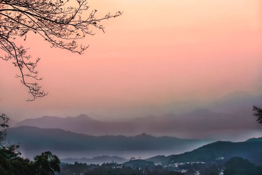 The mountain of the sunset My Traveling Photography From My Point Of View Mountain Scenics Mountain Range Beauty In Nature Fog Landscape Village Life Foggy Taking Photos Nature Peaceful Peace Autumn