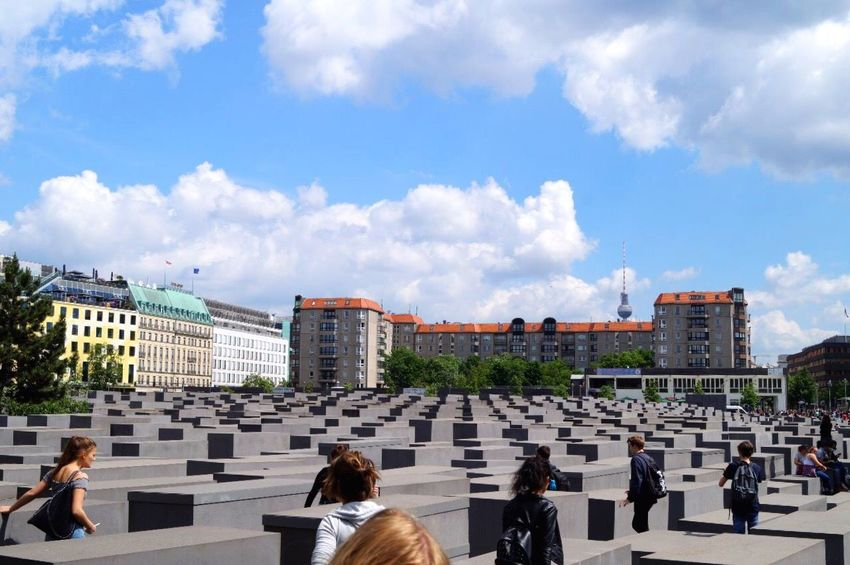Architecture Cloud - Sky Built Structure Sky Large Group Of People History Day Women Men Travel Destinations Real People Outdoors City People Holocaust Memorial Berlin Classtrip2017