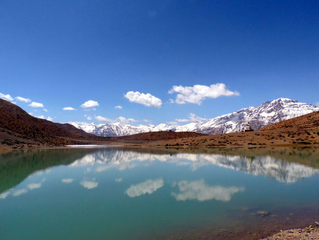 Landscape Reflection Blue Mountain Lake Clear Sky Sky No People Outdoors Scenics Nature Water Beauty In Nature Day Lahaul And Spiti India Himachal Pradesh Himachaltourism Incredibleindia Beauty In Nature Power In Nature Dhangkar Lake Dhangkar