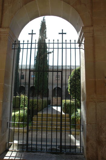 Monasterio De Cañas Architecture Arch Built Structure Window Day No People Building Plant Nature History The Past Indoors  Low Angle View Glass - Material Sky Tree Sunlight Gate Courtyard