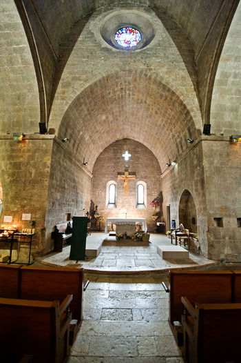 Abey Ancient Civilization Arch Architectural Feature Architecture Archway Ceiling Church Column Culture Historic History Indoors  Interior Mystical Narrow Old Ornate Place Of Worship Religion Religious  Tunnel Valbonne Abbey