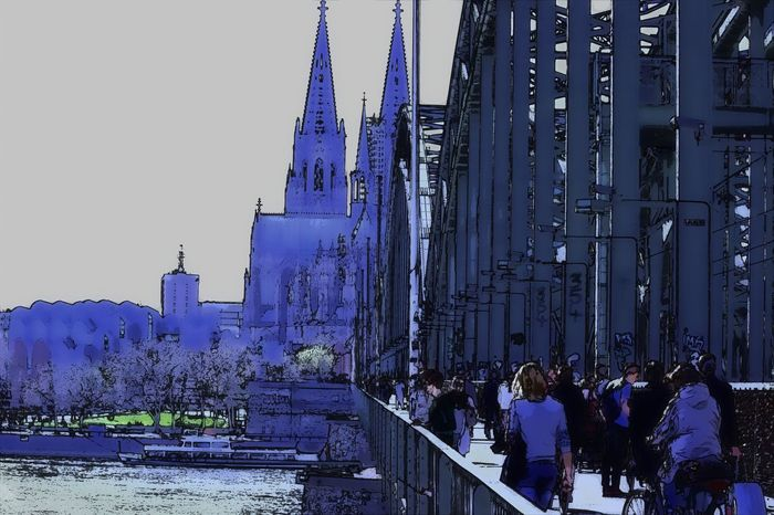 Architecture Building Exterior Built Structure Capital Cities  City City Life City Street Cologne Cologne , Köln,  Cologne Cathedral Day Famous Place Outdoors Rheinufer Sky Tall - High Tourism Tower Travel Destinations Surrealism Comic Style Comic Painting Art Comic Art
