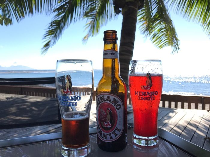 Drink Beer Hinano Hinano Tahiti Refreshment Coconut Tree Sun Sea Ambree Monaco Drink By The Sea Enjoy Life Relaxing