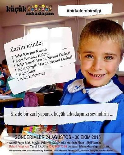 Küçükarkadaşım Birkalembirsilgi Kitap Defter Silgi Ogrenci Ogretmen Günaydın Türkiye Güzel Bir Toplum Icin Ve Yarınlar Icinde Duyarlı Olmak En Büyük Görev Haydi Savas Olmayan Barış ve kardeşlik olan güzel bir vatan için dostlar