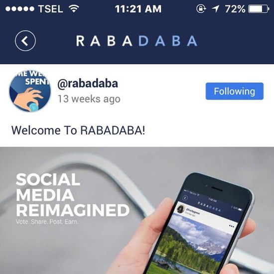 YeAaaah follow me on Rabadaba @sharenow .. Quickly to get Free money only just posting you want !!! Its real and this is not scam !!