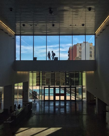 Architecture Built Structure Men Window Glass - Material Modern Museum Dhub Museu Del Disseny De Barcelona Silhouettes Indoors  Transparent Building City Life Day Glass