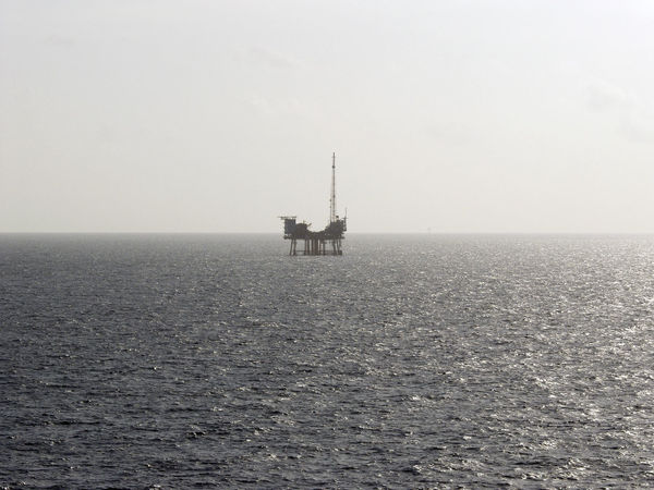 Gulf of Mexico Horizon Over Water Ocean Oil Business Oil Platform Oilfield Outdoors Sea Sea Platform Seascape Working At Sea