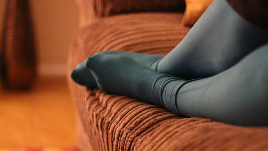 Close-up Feet Focus On Foreground Indoors  Legs Limb Selective Focus Tights Place Of Heart