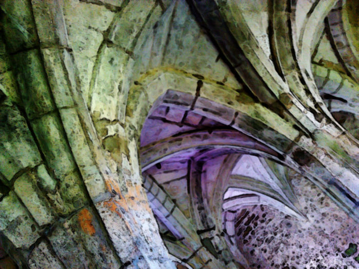 Ancient Architecture Built Structure Close-up History Indoors  Masonary Medieval Architecture. Monastic Building No People Purple Light Effect Roof. Stone Textured  Vaulted Roof Weathered