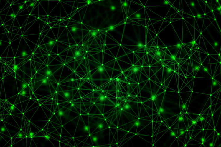 Full frame shot of illuminated green abstract connections