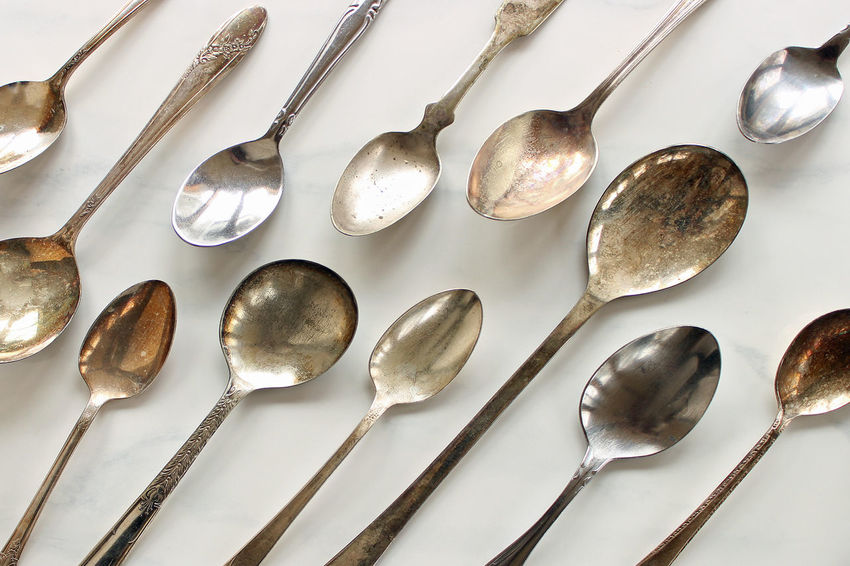 Silverspoons Background Beautiful Concept Cutlery Design Elegant Fine Dining Flatware Food And Drink Kitchen Marble Metal Mock Up Restaurant Room For Copy Shiny Silver  Silver Spoons Silverware  Styled Texture Tools Top View Utensils Variety