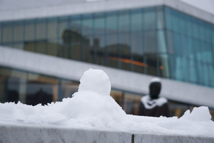 Snow outside oslo opera house