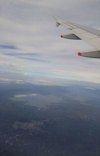 Airplane Flying Aerial View No People Cloud - Sky Lago De Ilopango El Salvador Central America