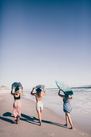 Sky Water Real People Group Of People Leisure Activity Full Length Lifestyles Beach Clear Sky Nature Women Togetherness Sea People Day Rear View Holiday Land Clothing Outdoors Surfing Surfboard Fun Hobby Adventure