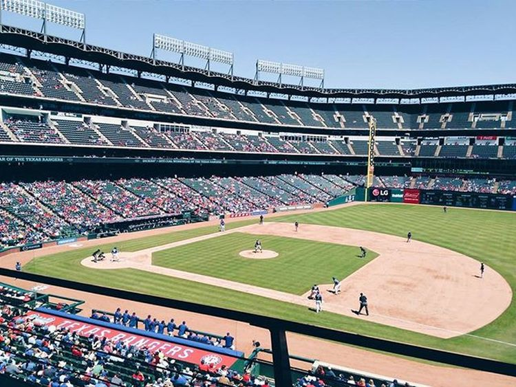 Perfect day for some baseball! Texasrangers Globelifepark Arlington  Txrangers Rangers Princefielder Mlb Springtime Preseason