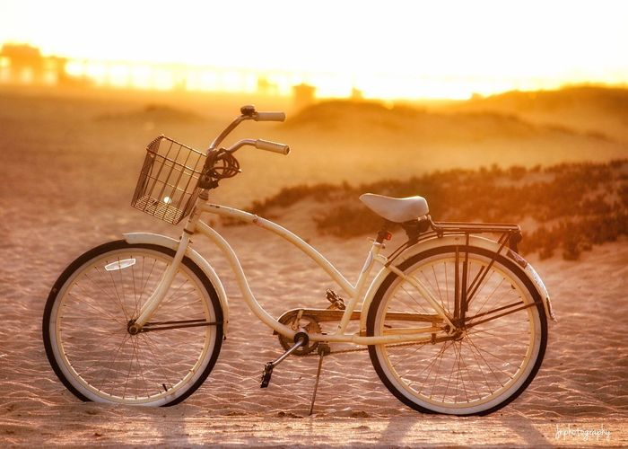Bicycle parked on landscape