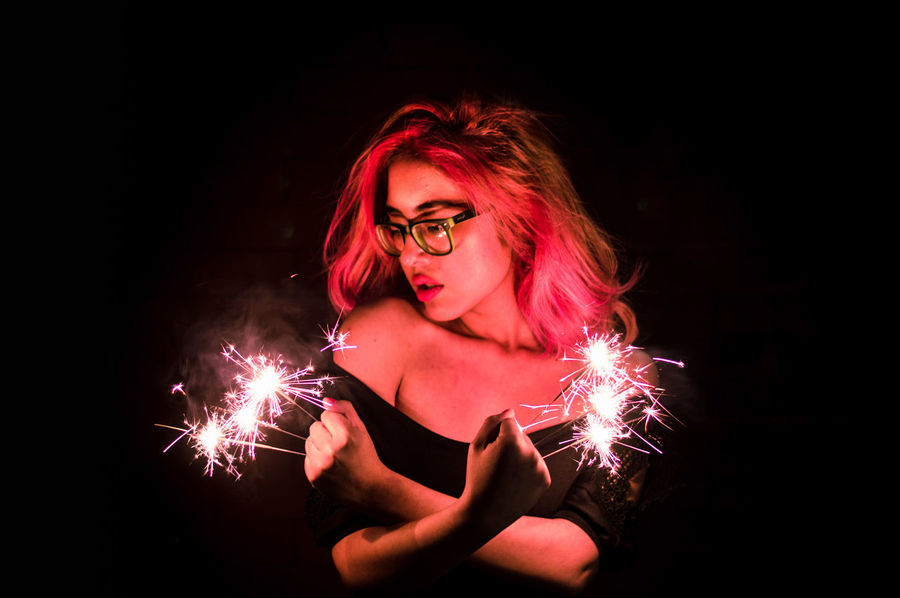 sparks PINKY Pinkie Lights Girl On Fire Sparks Shapeless. Neon Pink Color Hairstyle Body Curves