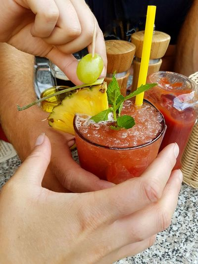 Happy hour😂 Cocktail Mai Tai Human Hand Women Drink Drinking Straw Drinking Glass Holding Close-up Food And Drink