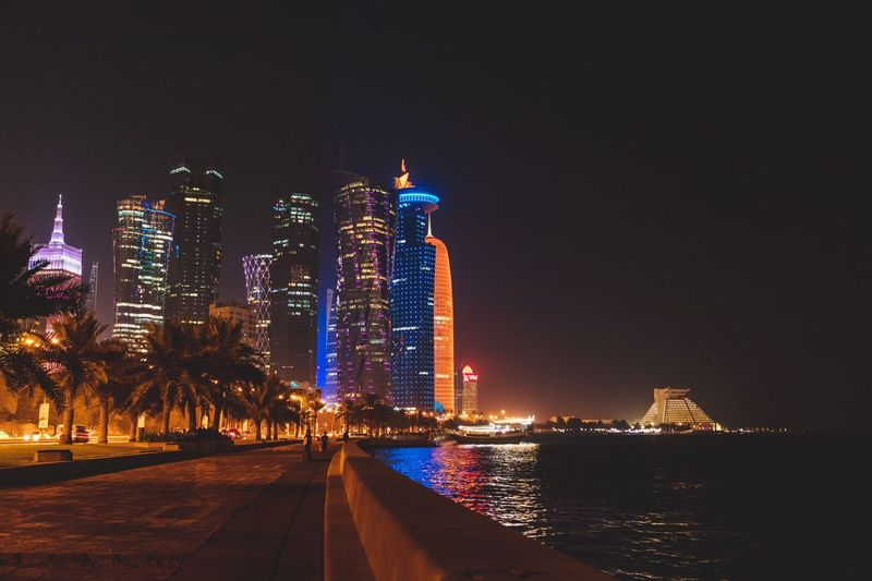 Corniche doha Water City Scape Qatar Buldings Cruise Corniche Boat Nightlife Night Architecture Building Exterior Illuminated Built Structure City Building Sky Office Building Exterior No People Nature Travel Destinations Outdoors Modern Tall - High Residential District Skyscraper Water Cityscape Sea The Great Outdoors - 2018 EyeEm Awards