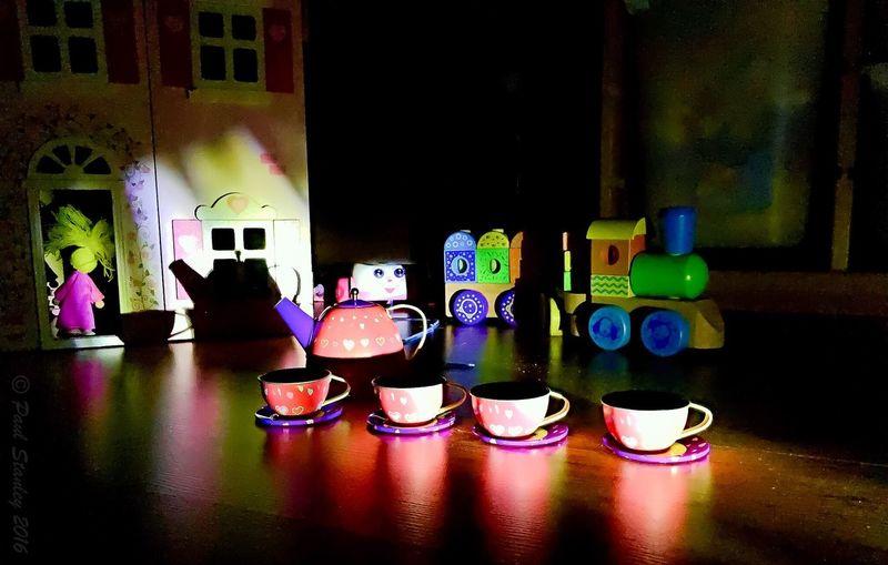 Teapot Doll Dollshouse Train Toy Train Tea Time Tea Set Scary After Dark Telephone Toy Telephone Creative Light And Shadow