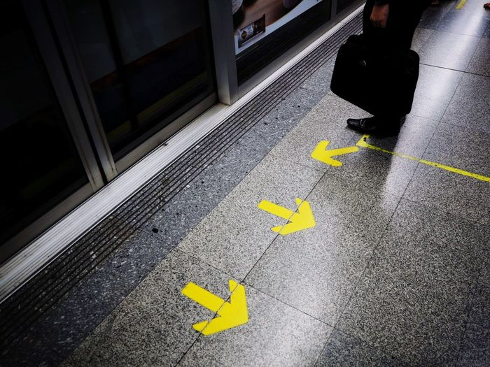 Yellow Arrow Symbol Exit Sign Indoors  One Man Only Only Men People Subway Platform EyeEm Vision Streetphotography Olympus Epl8