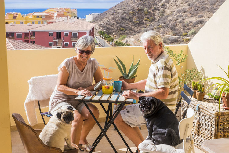 Senior couple with dogs having drink in restaurant