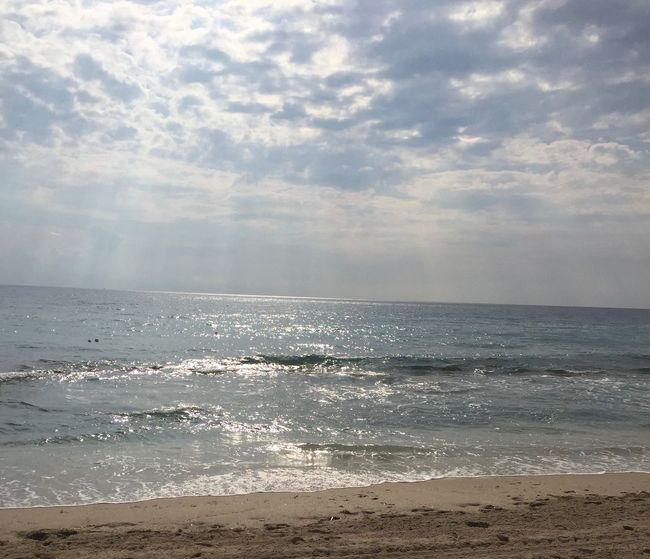 Beach Beauty In Nature Cloud - Sky Day Horizon Over Water Nature No People Outdoors Sand Scenics Sea Shining Sky Sun Rays Sunlight Tranquility Travel Destinations Water Wave