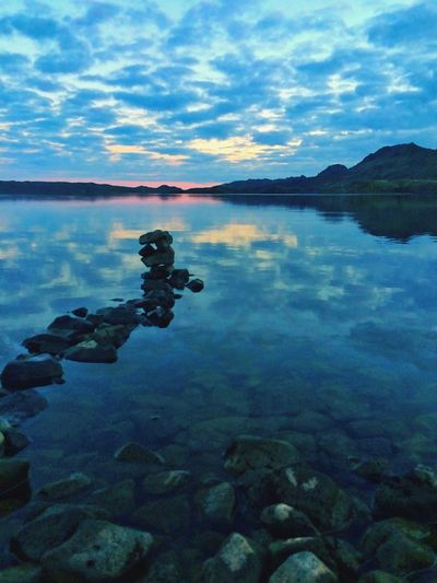 Mirror Lake Water Nice View Stones Tower Sky And Clouds Evening Iceland_collection Iceland216
