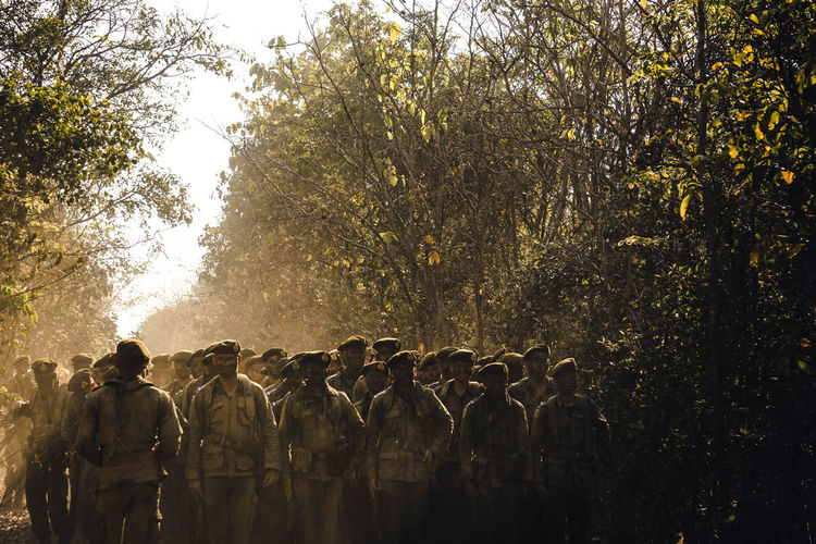 Army soldiers walking in forest
