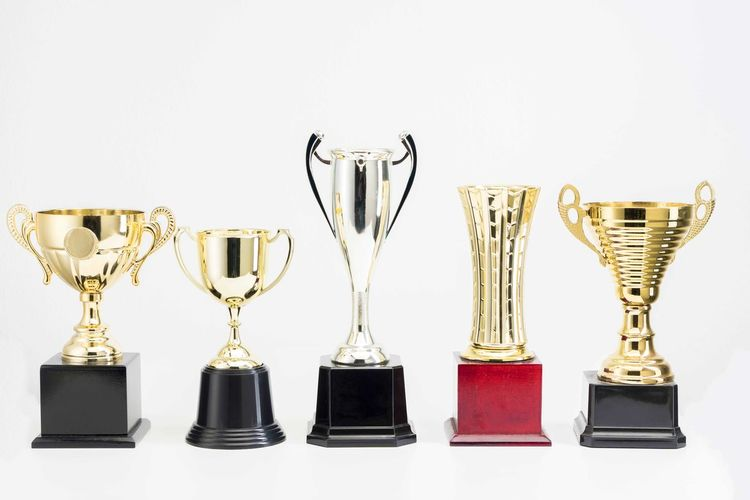 Variety of Trophy Cup on white background AWARD Trophy Achievement Success Shiny Indoors  Choice Variation Studio Shot Gold Colored White Background No People Still Life Side By Side Winning Group Of Objects In A Row Gold Copy Space Metal Silver Colored