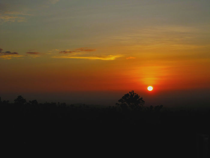 Astronomy Beauty In Nature Hazy  Idyllic Landscape Moon Nature No People Orange Color Outdoors Scenics Silhouette Sky Sun Sunset Tranquil Scene Tranquility Tree