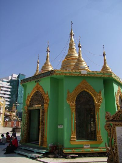 Octagonal Shrine at Botataung Pagoda Blue Sky Buddhism Buddhist Architecture Buddhist Art Buddhist Culture Buddhist Pagoda Buddhist Temple Composition Facdae Gold And Green Colour Incidental People Myanmar Octagonal Pavilion Outdoor Photography Place Of Pilgrimage Place Of Prayer Place Of Worship Religion Spirituality Sunlight And Shade Tourism Tourist Attraction  Travel Destination Unusual Yangon