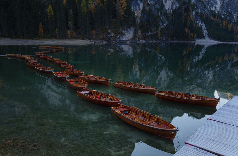 Nature landscape in the dolomites mountains at  lago di braies, italy
