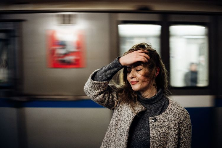 Underground life Warm Underground Station  Metro Russia Girl Karpetsphoto Motion Train EyeEm Selects Real People One Person Warm Clothing Focus On Foreground Leisure Activity Women Lifestyles Architecture Indoors  Young Women Day Young Adult Adult People