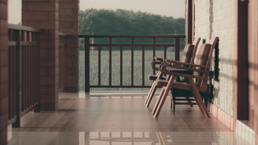Chairs Morning Sun Nature Vintage Photo