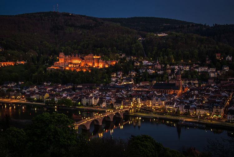 High Angle View Of Illuminated Town At Night