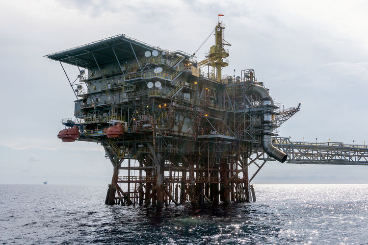 Offshore Platfrom Water Industry Sea Oil Industry Sky Day Fuel And Power Generation Nature Architecture Built Structure Offshore Platform Outdoors No People Drilling Rig Offshore Platform Petroleum Oil And Gas Ocean Upstream Oilfield Production