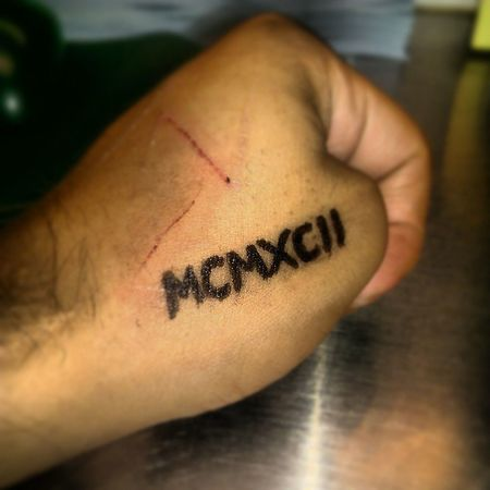 FutureTattoo RomanNumerals Ink 1992 MCMXCII tattoo Hand