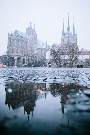 Snow Snow Domplatz / Erfurt Domplatz Architecture Built Structure Building Exterior Water Travel Destinations Reflection Tourism Travel Sky City Building Nature Place Of Worship Religion Belief Waterfront The Past History No People Outdoors
