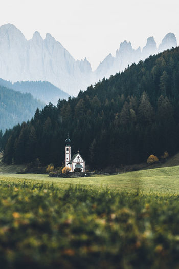 Mountain Architecture Built Structure Plant Beauty In Nature Mountain Range Building Exterior Scenics - Nature Tree Building Place Of Worship Religion Green Color Landscape Nature Land Grass No People Tranquility Outdoors Italy Dolomites, Italy Grass Green Church